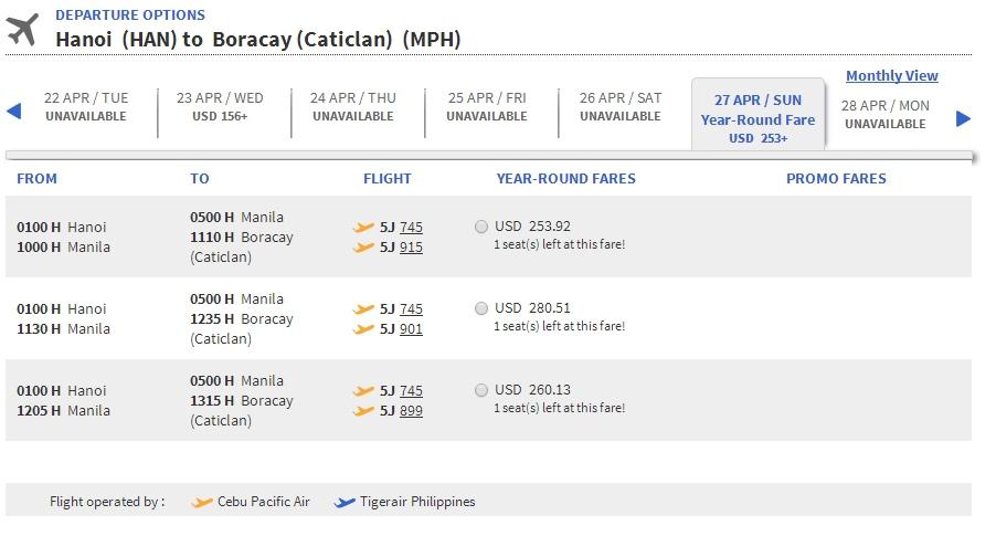 Vé máy bay Hà Nội đi Boracay