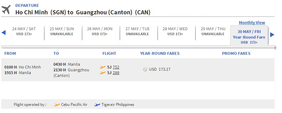 Vé máy bay Cebu Pacific đi Quảng Châu giá rẻ
