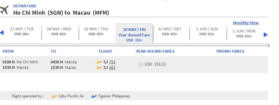 Vé máy bay giá rẻ đi Ma Cao