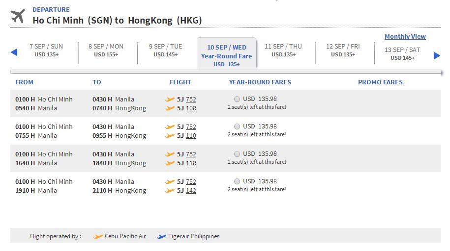 Vé máy bay Hồ Chí Minh đi Hong Kong giá rẻ