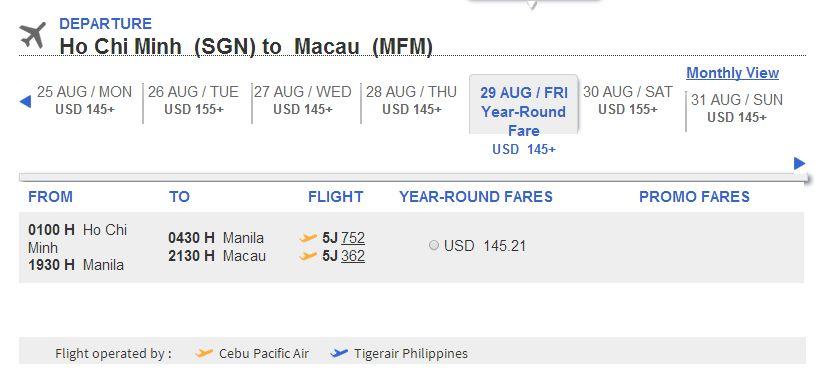 Mua vé máy bay đi Macao giá rẻ