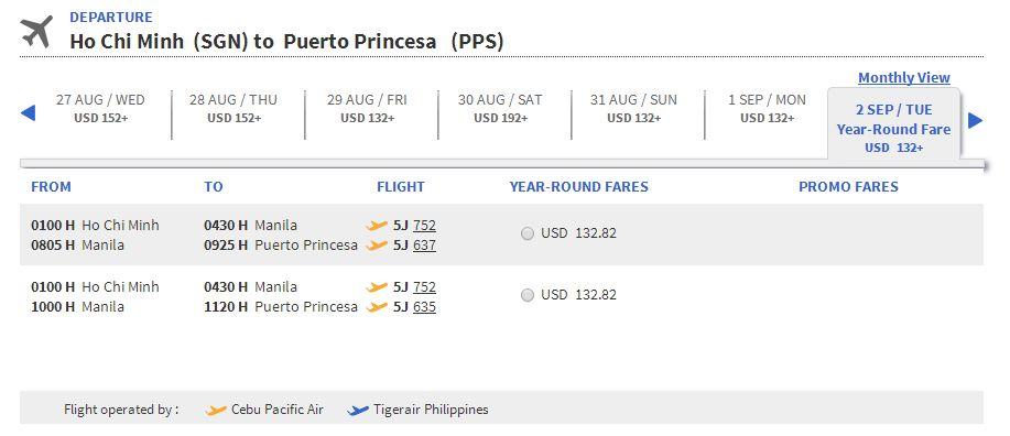 Vé máy bay đi Puerto Princesa giá rẻ
