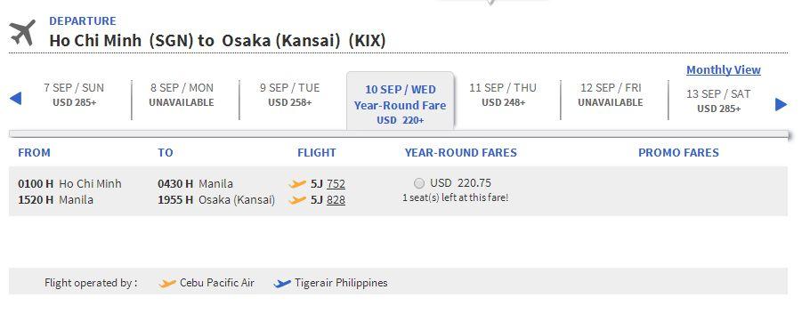 Vé máy bay đi Osaka bao nhiêu tiền