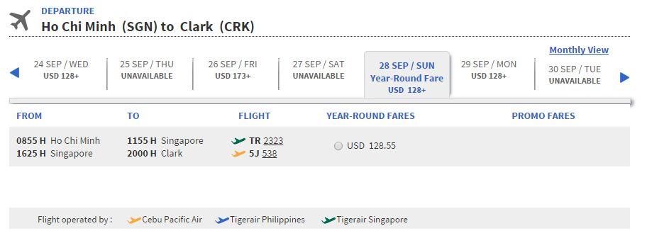 Vé máy bay đi Clark giá rẻ