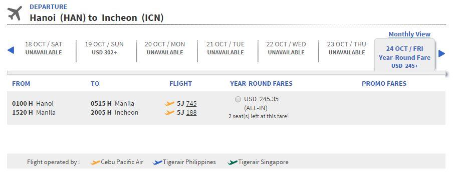 Vé máy bay Hà Nội đi Hàn Quốc giá rẻ
