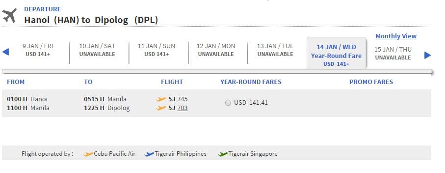 Vé máy bay đi Dipolog giá rẻ