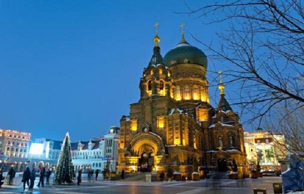 Sophia nhà thờ rực rỡ ở thành phố Cáp Nhĩ Tân