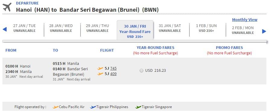 Vé máy bay đi Brunei bao nhiêu tiền