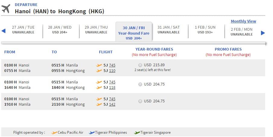 Giá vé máy bay đi Hong Kong