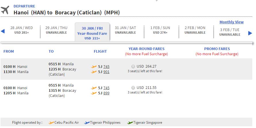 Vé máy bay Hà Nội đi Boracay giá rẻ