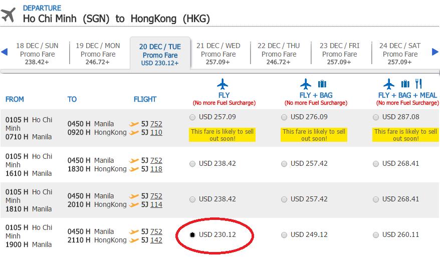 Giá tham khảo chặng Hồ Chí Minh - Hong Kong