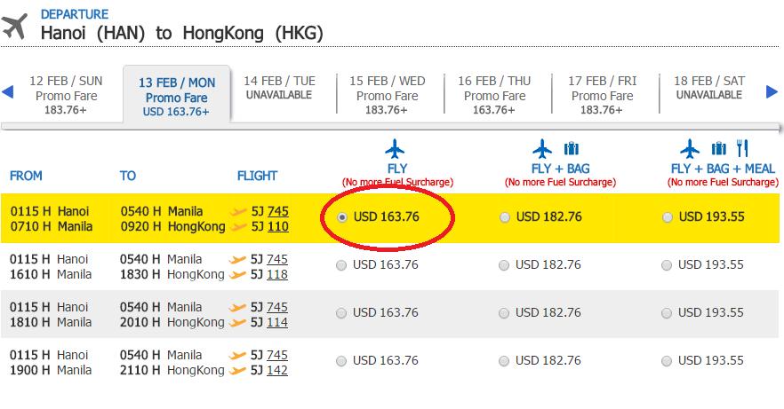Giá tham khảo chặng Hà Nội - Hong Kong